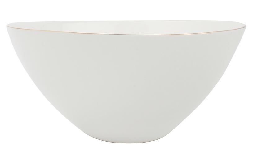 S/2 Abbesses Serving Bowls, White/Gold