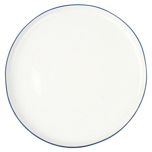 S/4 Abbesses Dinner Plates, White/Blue