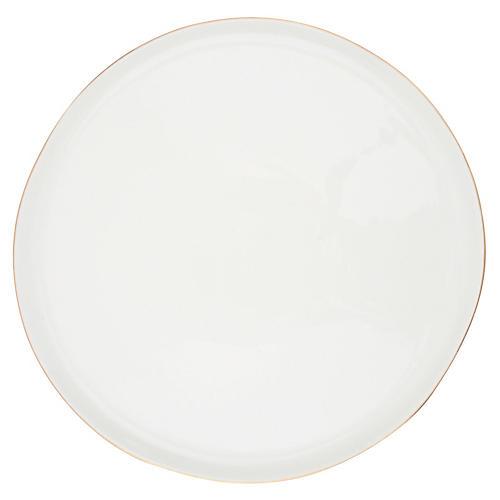 S/4 Abbesses Dinner Plates, White/Gold