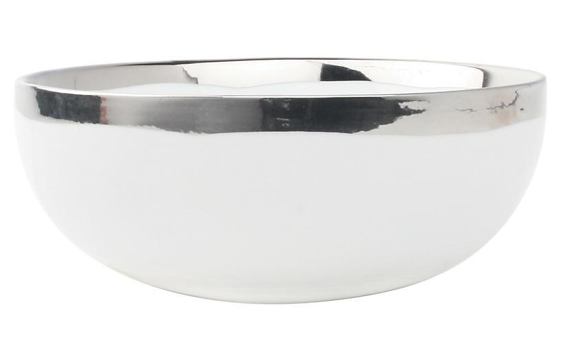 S/4 Dauville Cereal Bowls, White/Platinum