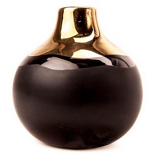 "4"" Dauville Bud Vase, Gold/Black"