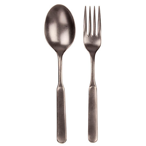 Asst. of 2 Lucca Salad Servers, Pewter