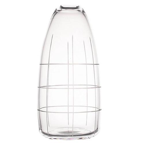 "9"" Wren Tall Grid Vase, Clear"
