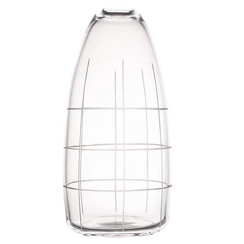 "9"" Wren Tall Grid Vase, Clear"