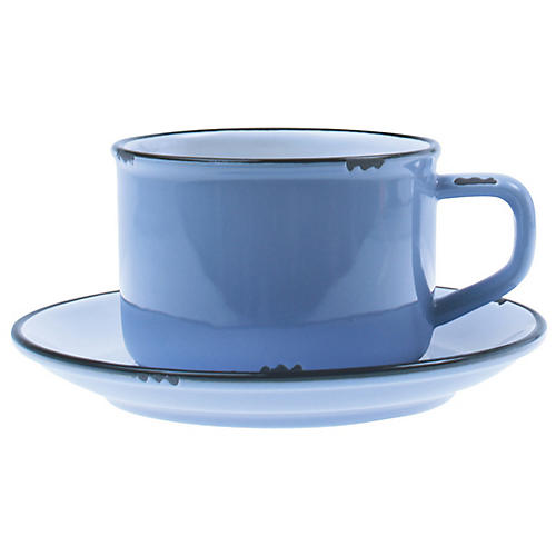 Tinware Cup & Saucer, Blue