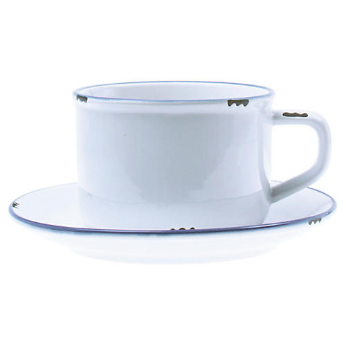 Tinware Cup & Saucer, White/Blue