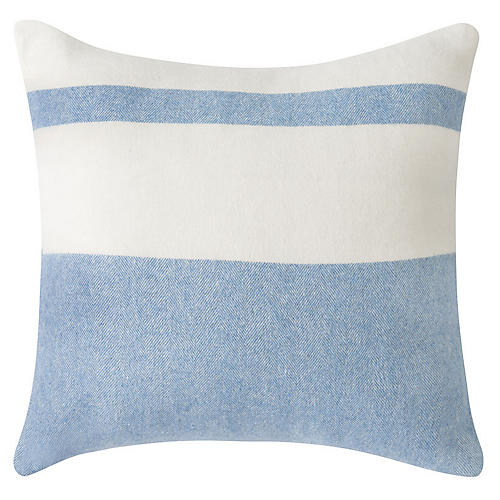 Sydney Stripe 20x20 Pillow, Blue Denim