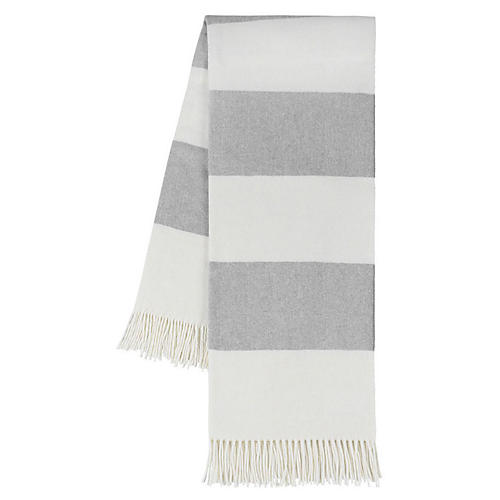 Rugby Stripe Cotton Throw, Light Gray