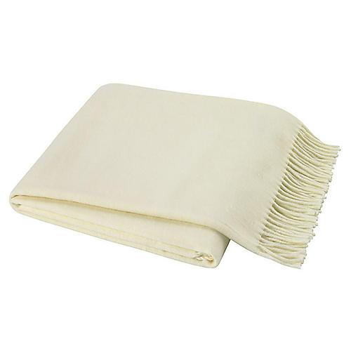 Herringbone Cotton-Blend Throw, Ecru