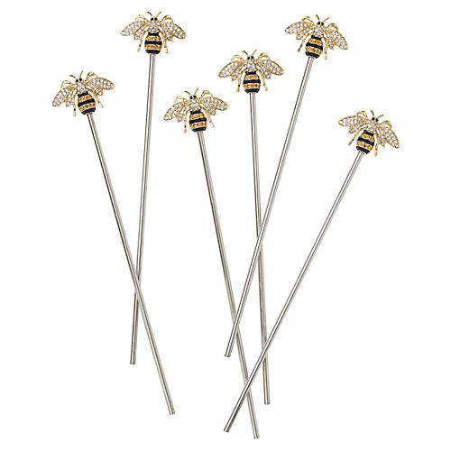 S/6 Stripey Bee Swizzle Sticks, Gold