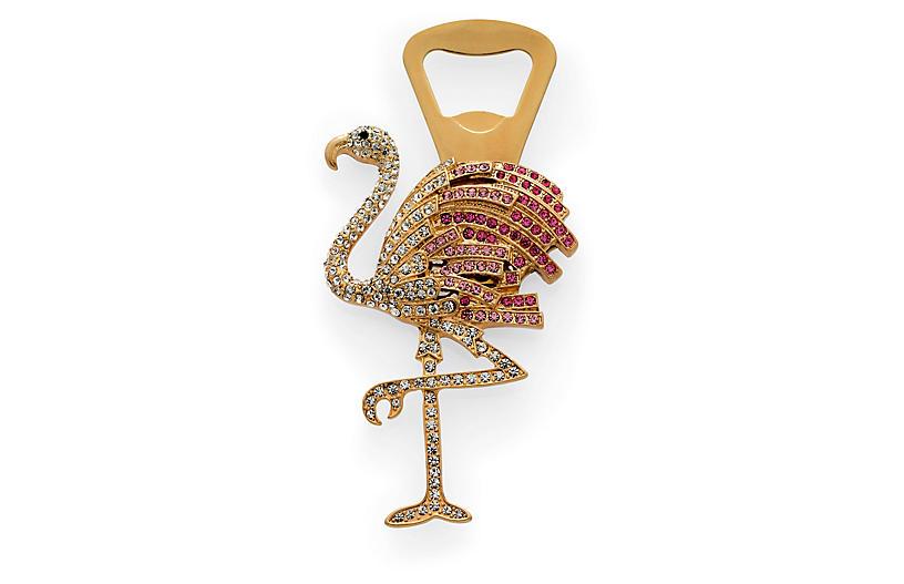 Flamingo Bottle Opener, Gold/Pink