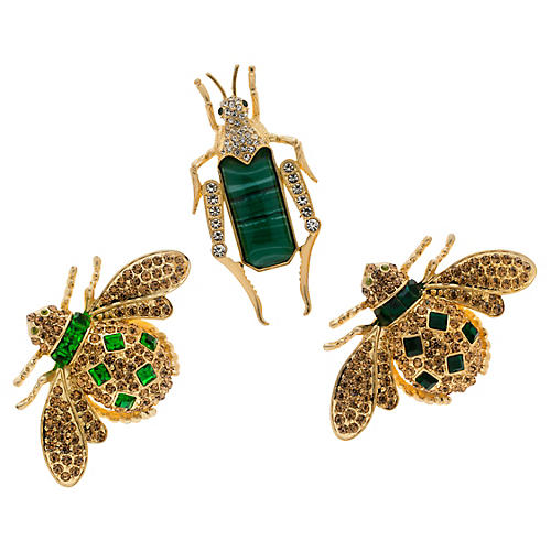 S/3 Bejeweled Insect Wreath Clips, Malachite