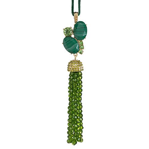 Tassel Ornament, Gold/Green