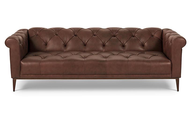 Merritt Sofa, Cocoa Leather   One Kings Lane