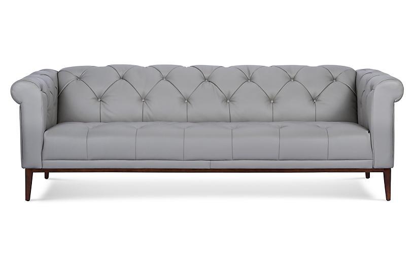 Merritt Sofa, Gray Leather