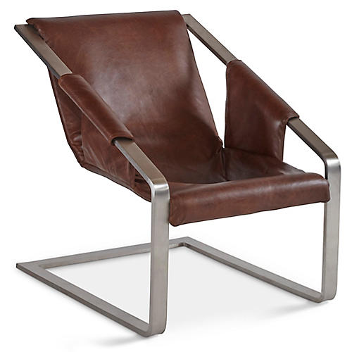 Alfie Accent Chair, Earth Leather