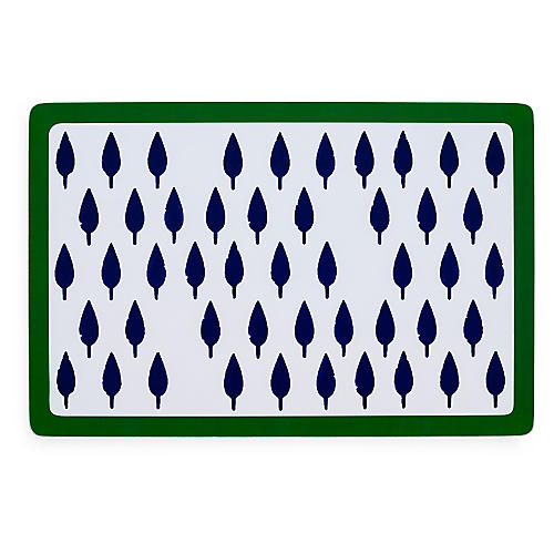 S/2 Tree Place Mats, Blue/Green
