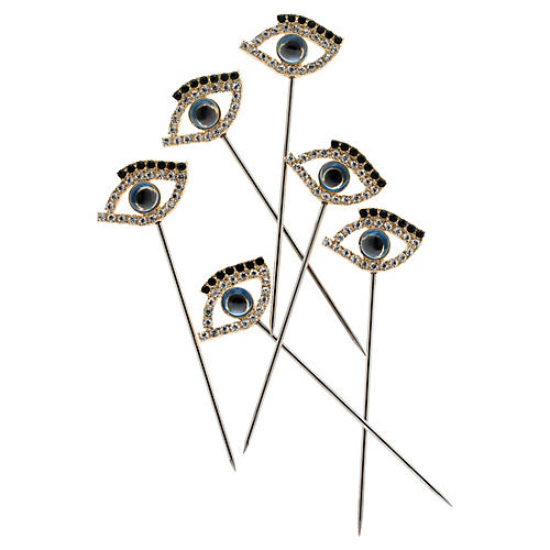 S/6 Evil Eye Cocktail Picks, Silver/Blue