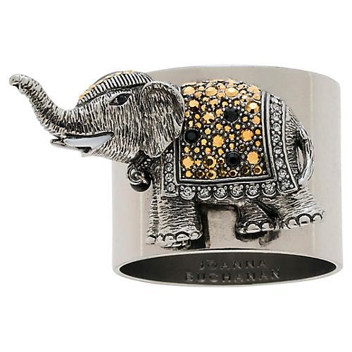 S/2 Elephant Napkin Rings, Silver