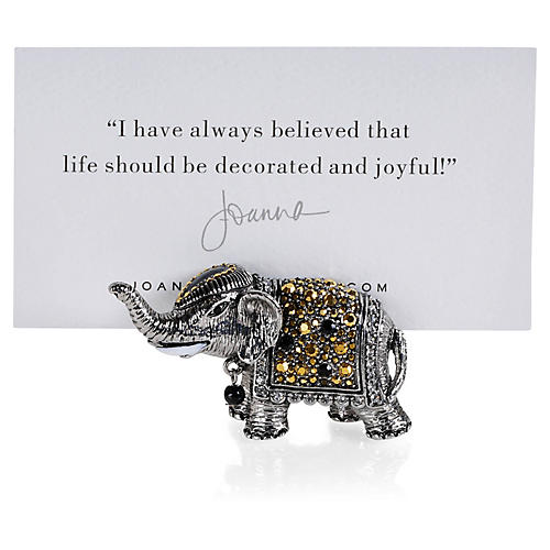 S/2 Elephant Place-Card Holders, Silver