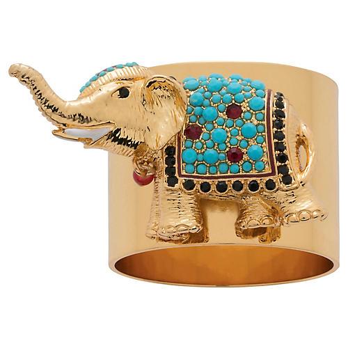 S/2 Elephant Napkin Rings, Gold/Blue
