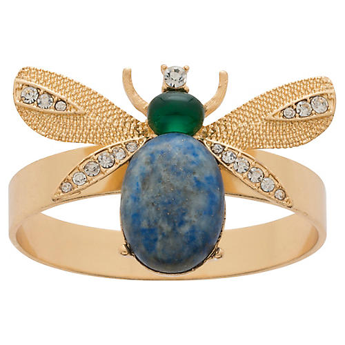 S/4 Etched Wing-Bug Skinny Napkin Rings, Gold/Blue