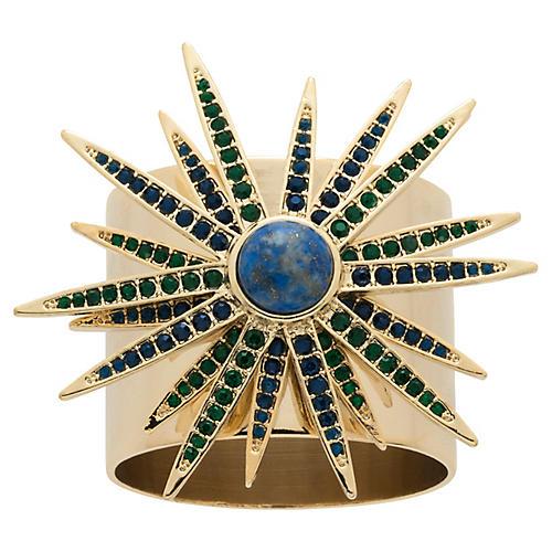 S/2 Starburst Napkin Rings, Gold/Blue