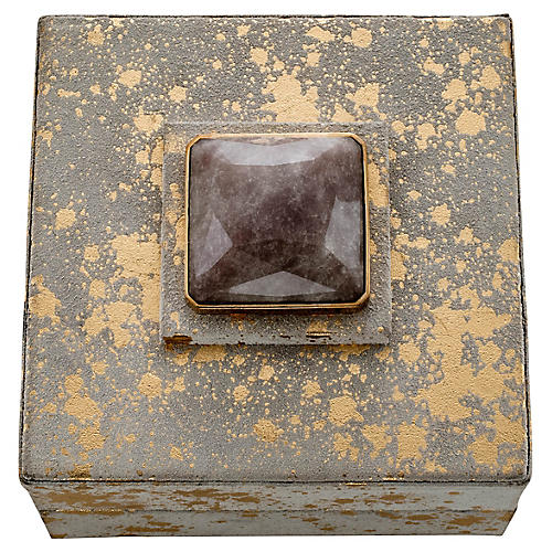 Rustic Quartz Jewelry Box, Gray/Gold