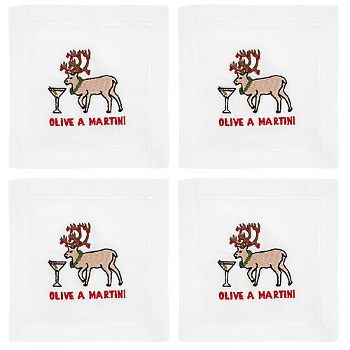 S/4 Olive A Martini Cocktail Napkins, White