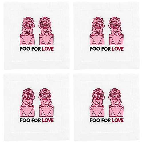 S/4 Foo For Love Cocktail Napkins, White