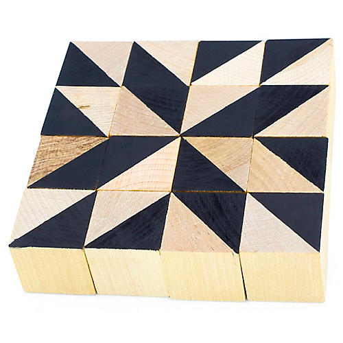 Geometric Kids' Cube Set, Black/Natural