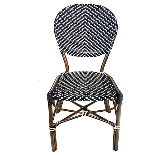 Café Outdoor Bistro Side Chair, Black/White