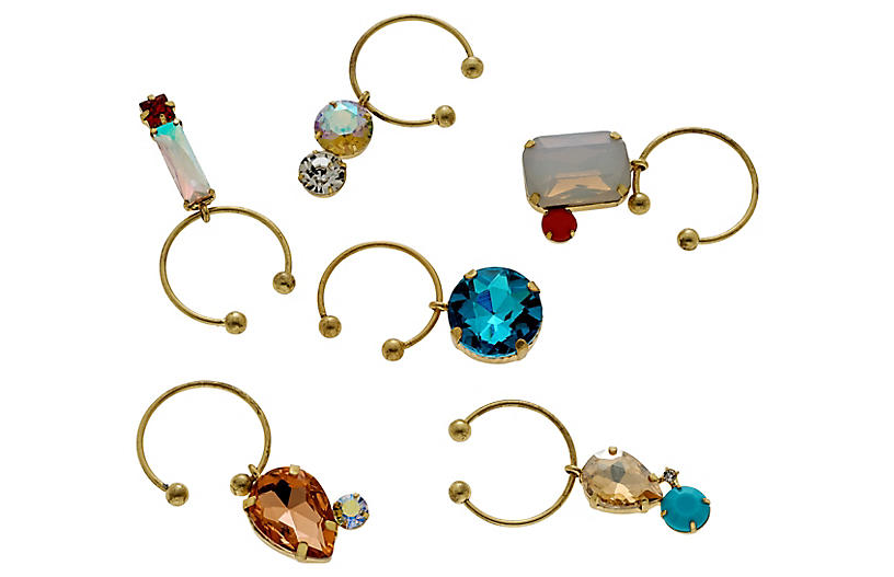 S/6 Jeweled Wine Charms, Gold/Blue/Multi