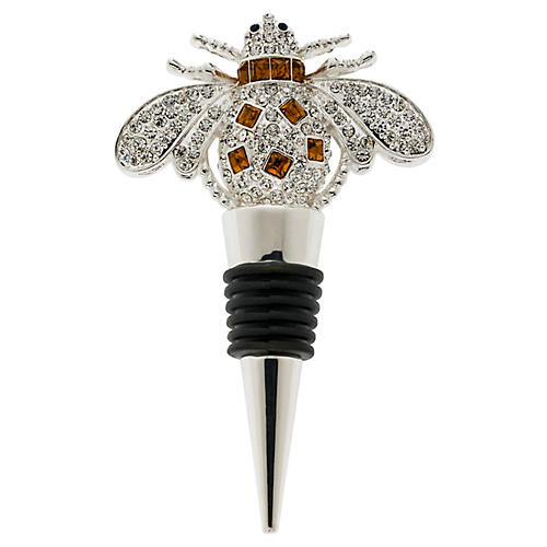 Bee Wine Stopper, Silver/Red