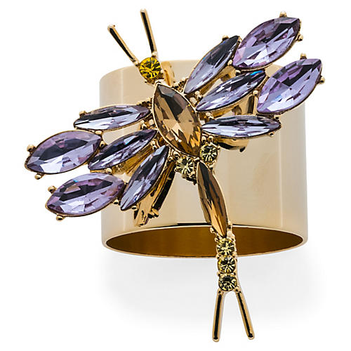 S/2 Dragonfly Napkin Rings, Gold/Violet