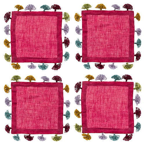S/4 Tassel Cocktail Napkins, Hot Pink/Multi