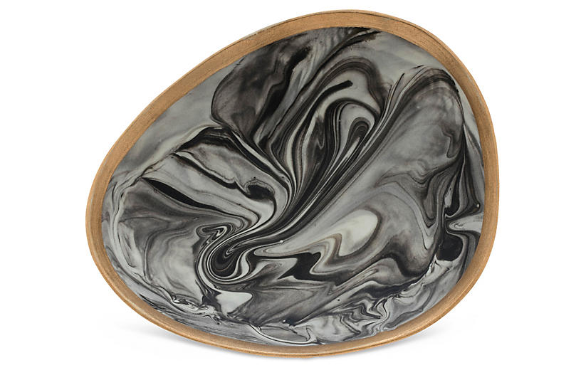 Marbleized Porcelain Ring Dish, Gray