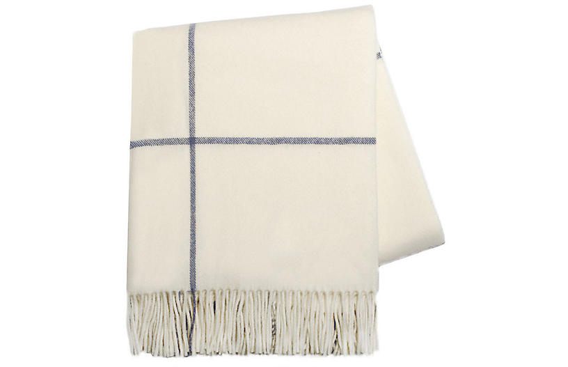 Windowpane Cashmere Blend Throw, Ivory