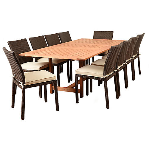 Damian 11-Pc Dining Set, Tan