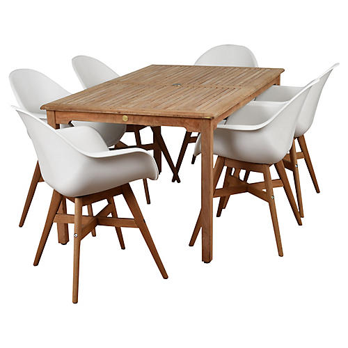 Charlotte 7-Pc Amazonia Dining Set, White