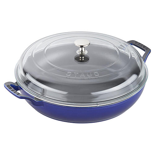 3.5-qt Cast Iron Braiser w/Lid, Navy