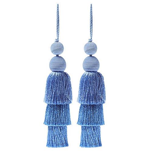 S/2 Fiesta Tiered Tassel Ornaments, Blue