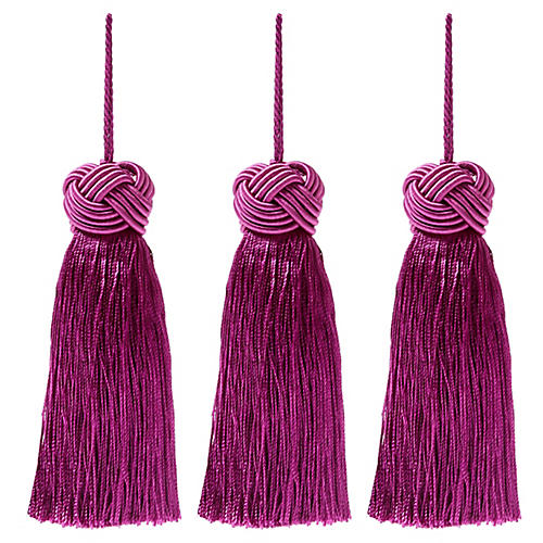 S/3 Tinsel Knot-Top Tassel Ornaments, Purple
