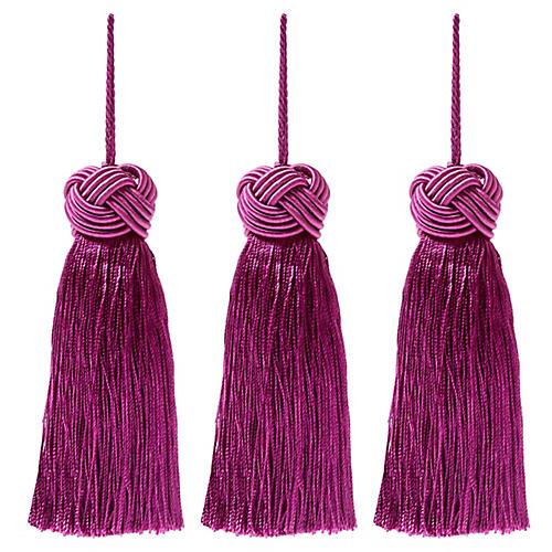 S/3 Tinsel Knot-Top Tassel Ornaments, Purple