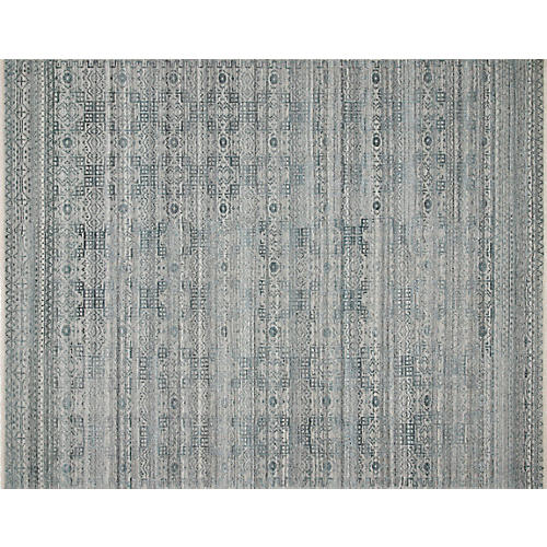 Spring Hand-Knotted Rug, Turquoise/Gray
