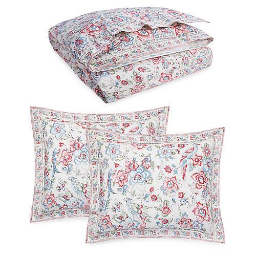 Lucie Comforter Set, Cream/Multi