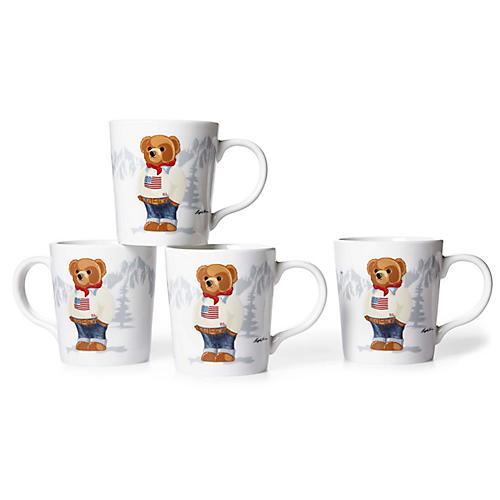 S/4 Haven Flag Bear Mugs, White/Multi
