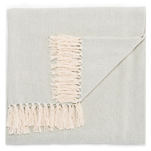 Nocc Cotton Throw, Light Blue/Cream