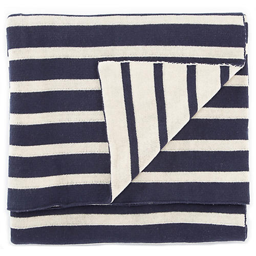 Lere Cotton Throw, Navy/White