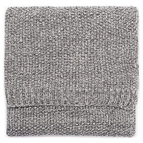 Viv Cotton Throw, Gray/White
